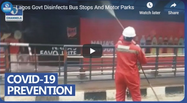 Lagos Govt Disinfects Bus Stops And Motor Parks