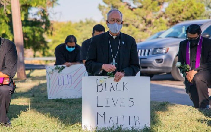 A bishop in El Paso kneeled in prayer for George Floyd. Two days later, Pope Francis called