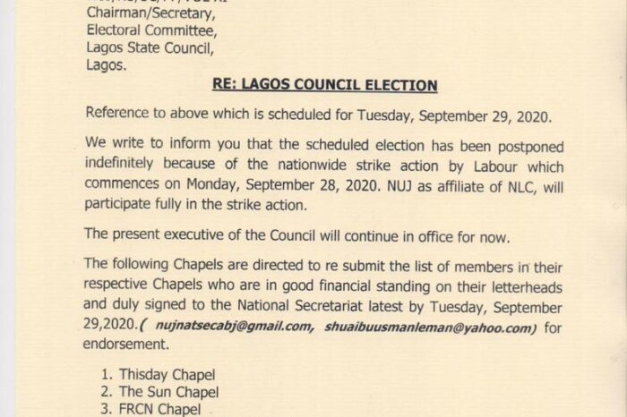 NUJ Election: National Leadership Calls For Re-submission of Member's List For 11 Chapels