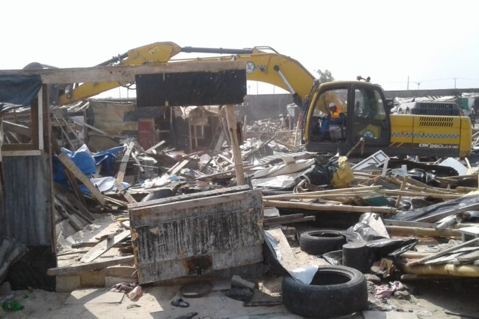 LASG demolishes over 1700 illegal shanties, containerized shops at Fagba railway lines