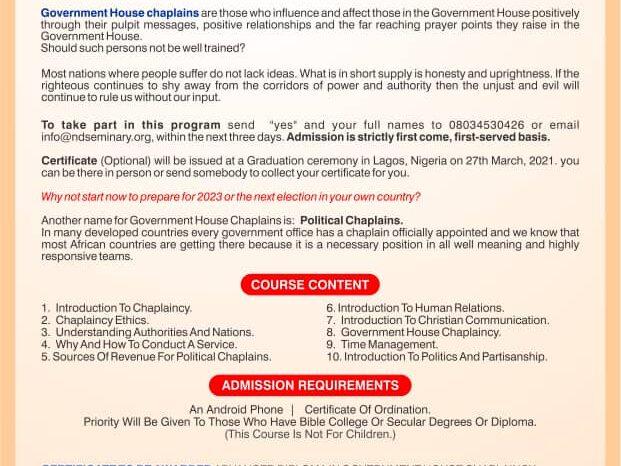 New Dimension Seminaries Set To Train Political Chaplaincy Ahead 2023 Election